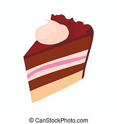 style, couper, gâteau chocolat, icône, dessin animé