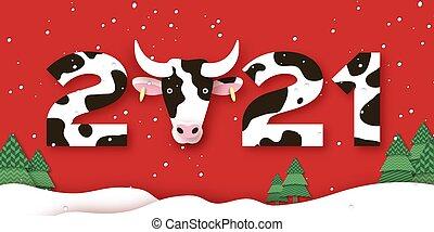 style., cow., 2021, horoszkóp, karácsony, aláír, év, boldog, template., ökör, elvág, kínai, piros, dolgozat, fa., háttér, zodiac., új, jelkép, hold-, transzparens, bika