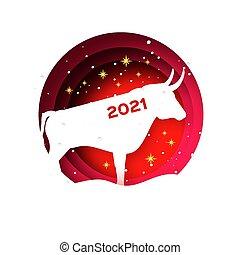 style., cow., 2021, tél, horoszkóp, hold-, elvág, year., holidays., bika, boldog, aláír, bika, új, red., dolgozat, ökör