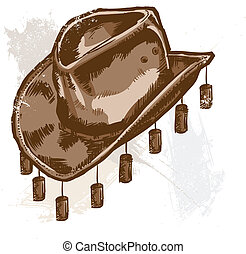 style, cow-boy, illustration, vecteur, australien, chapeau, ou