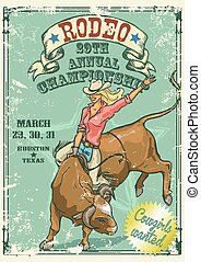 style, cowgirl, affiche, taureau, rodéo, retro, équitation