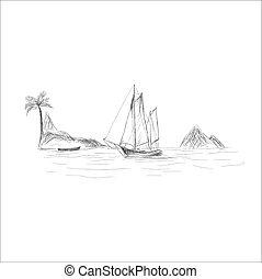 style, croquis, vecteur, bateau, mer