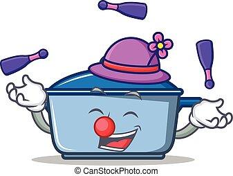 style, cuisine, caractère, dessin animé, jonglerie