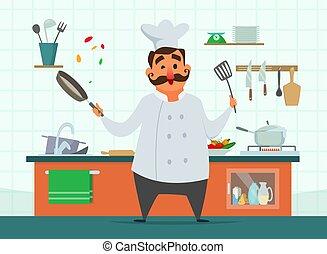 style, cuisine, caractère, kitchen., chef cuistot, vecteur, dessin animé