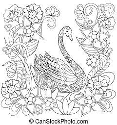 style, cygne, main, ethnique, dessiné, décoré, fleurs