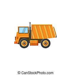style, décharge, orange, camion, icône, dessin animé
