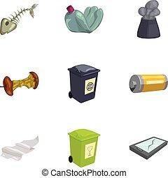 style, déchets, icônes, ensemble, déchets ménagers, dessin animé