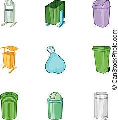 style, déchets, icônes, ensemble, stockage, dessin animé