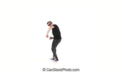 style, danse lente, danseur, moderne, mouvement, continuer, blanc, brake-dance