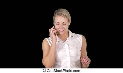 style de vie, affaires femme, gens parler, concept:, téléphone, portrait, alpha, sourire, canal