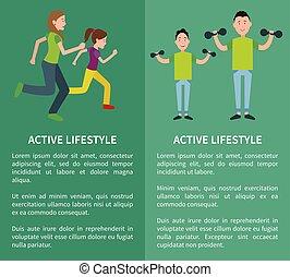 style de vie, affiche, père, fils, mère, actif, fille