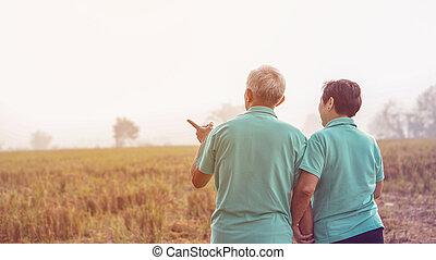 style de vie, business, nature, ferme, couple, personnes agées, champ, asiatique, riz, heureux