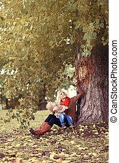 style de vie, famille, automne, enfant, autu, mère, apprécier, heureux