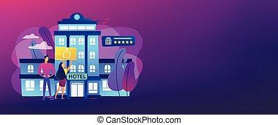 style de vie, hôtel, concept, bannière, header.