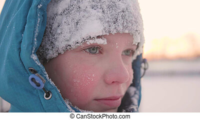 style de vie, hiver, sain, promenades, air., figure, parc, closeup, adolescent, temps, frais, sunset.
