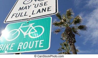 style de vie, parcours, vélo, resort., bikeway, symbole, touriste, sain, cycleway, enseigne, pacifique, vert, cyclisme, couloir, signe, usa., vélo, palm., route, singpost., récréation, sécurité, oceanside, californie