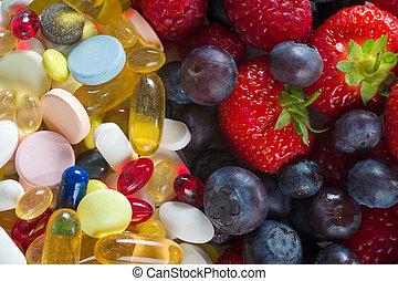 style de vie, pilules, sain, vitamine, régime, concept, fruit, suppléments, fond, blanc