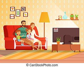 style de vie, regardant télé, family., moderne, père, mère, enfants