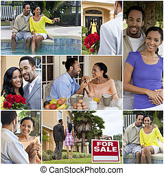 style de vie, romantique coupler, américain, africaine, heureux