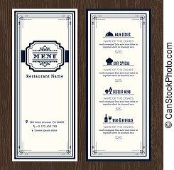 style, deco, art, menu restaurant, cadre, conception, retro, gabarit, vendange, café, ou