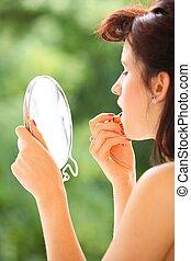 style, demande, faire, intérieur, haut, regarder, retro, miroir, girl