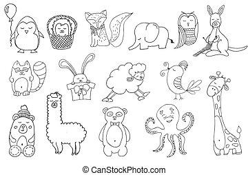 Style, dessiné, animaux, dessin animé, main