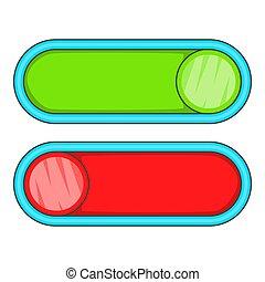 style, dessin animé, icône, boutons, rouge vert