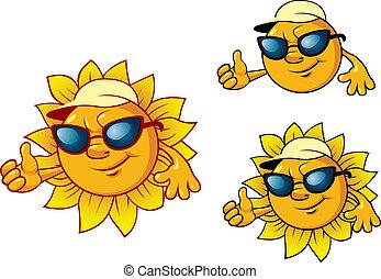 style, dessin animé, soleil, caractère