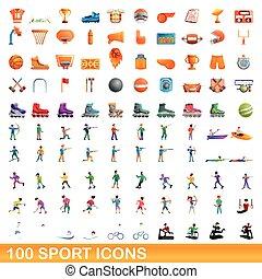style, dessin animé, sport, ensemble, icônes, 100