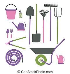 style, divers, outils jardinage, ensemble, dessin animé