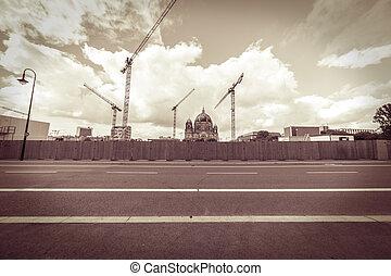 style, dom, vendange, site, berlinois, construction, arrière-plan., panorama