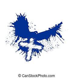 style, dove., grunge, pigeon, illustration, cross., vecteur