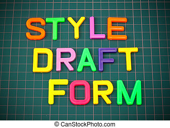 Style draft form in colorful toy letters oncutting mate