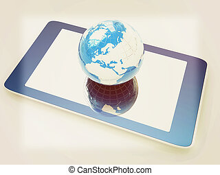 style., earch, concept., internet, telefoon, globaal, achtergrond., ouderwetse , illustration., 3d, witte