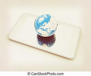 style., earch., concept., internet, telefoon, globaal, ouderwetse , illustration., 3d