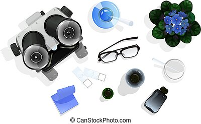 style, education, biology., sommet, isolé, illustration, ou, vecteur, blanc, table, chimie, outils, dessin animé, vue