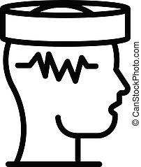 style, electroencephalogram, contour, cerveau, icône
