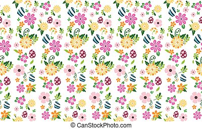 Style elegant Easter egg pattern background, with beautiful red flower.