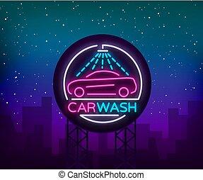 style, emblème, illustration., concept, voiture, cars., signe, laver, thème, conception, publicité, logo, panneau affichage, lavage, lumineux, néon, gabarit
