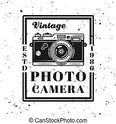 style, emblème, vendange, vecteur, retro, appareil-photo photo