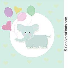 style, enfance, vecteur, éléphant, ballons, dessin animé