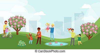 style, enfant, sien, épuisé, s, clair, ville, jour, base-ball, vecteur, dessin animé, heureux, parc, père, illustration., papa, jouer, bannière