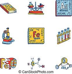 style, ensemble, élément, main, dessiné, chimie, icône