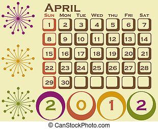 style, ensemble, 1, avril, retro, calendrier, 2012