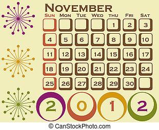 style, ensemble, 1, retro, novembre, calendrier, 2012