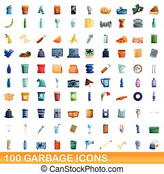 style, ensemble, 100, dessin animé, déchets, icônes