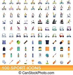 style, ensemble, 100, dessin animé, icônes, sport