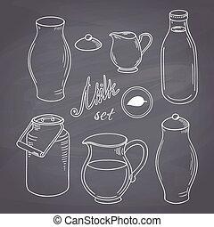 style, ensemble, agrafe, ferme, llustration, main, craie, vecteur, laitage, marchandises, dessiné, objects., lait, art.