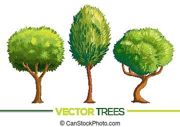 style, ensemble, arbres, vecteur, vert, dessin animé