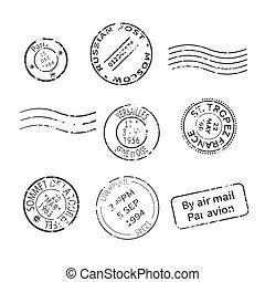 style, ensemble, autour de, pays, vendange, timbres, vecteur, mondiale, poste, villes